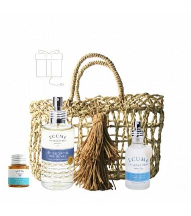 Coffret de Noël parfum et soin avec panier offert Écume d'Arcachon