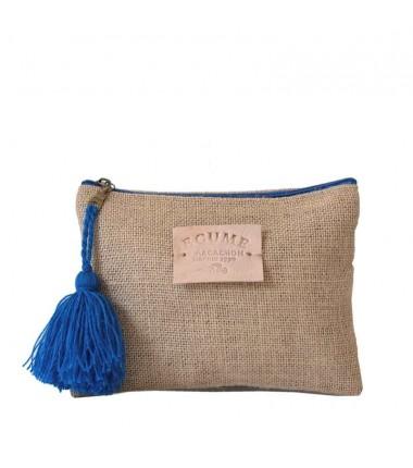 Trousse et pochette à Écume d'Arcachon avec fermeture éclair. Coloris pompon bleu roi